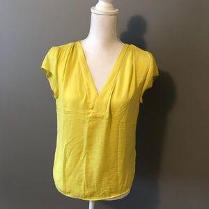 Yellow Short-Sleeved V-Neck Blouse